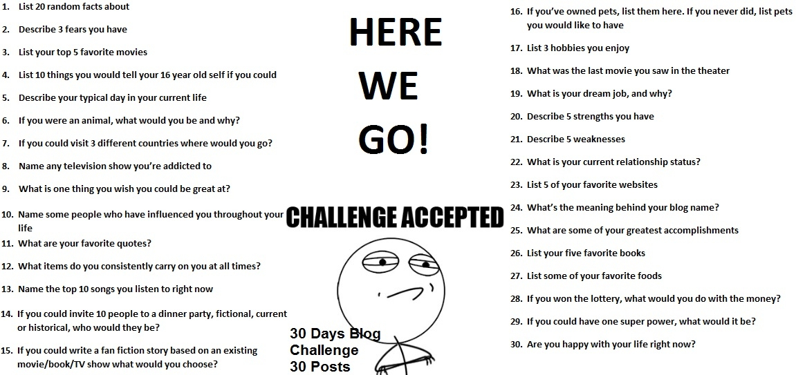 30 Day Writing Challenge List December 30 Day Challenge