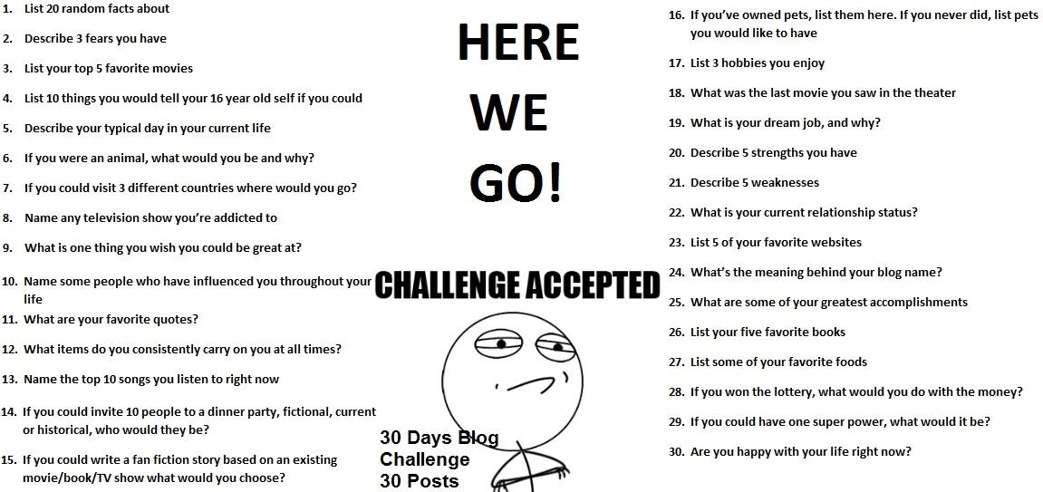 30 Day Blog Writing Challenge December 30 Day Challenge